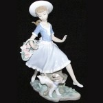 Lladro Figurine Young Girl with Basket of Flowers
