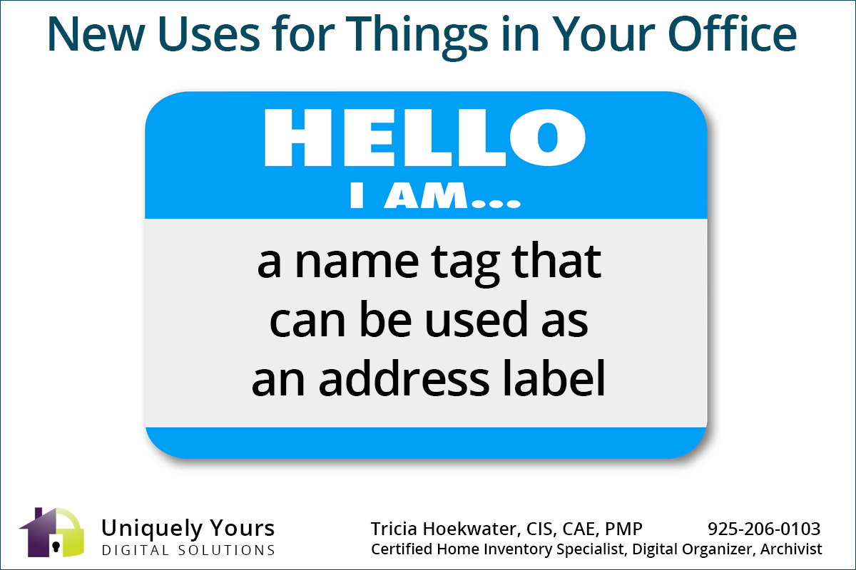A name tag that can be used as an address label